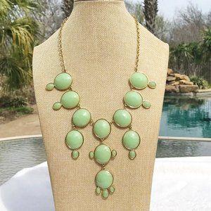 Boho Necklace Long Lime Bubble Goldtone Set NWT